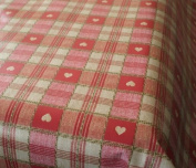 Red Sweetheart Cheque EasyWipe PVC Vinyl Tablecloth - Size 140cm x 200cm