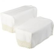 Decorative Pair of Square Arm Caps with Lace Trim Sofa Furniture Cover