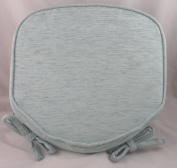 Luxury Duck Egg Blue Chenille Seat / Chair Pads / Cushions With Piped Edging