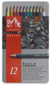 Caran D'Ache Pablo artists quality colouring pencils tin set of 12 assorted water resistant colours