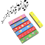 Estone Wooden Painted Harmonica Children Kids Musical Instrument Educational Music Toy