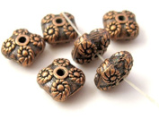 Copper finish square shape metal beads - 4 pieces - BD351