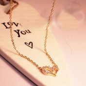 Cytprimedesign® Gold hollow Love heart shape necklace side rhinestones cut out heart