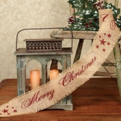 """The Country House Collection Burgundy """"Merry Christmas"""" Ribbon, 10cm x 3m"""