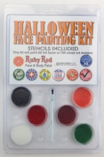 Halloween 6 colour face paint assortment with stencil - Ruby Red