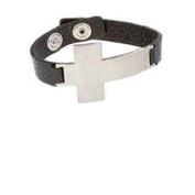 Cross Leather Cuff Bold Side Cross Bracelet Silver