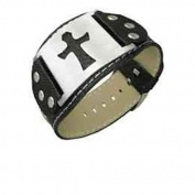 Men's or Woman's Wide Cross Leather Bracelet