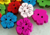 2 Holes Mixed Flower 15mm Wooden Button - Wood, 400pcs Mixed Colours