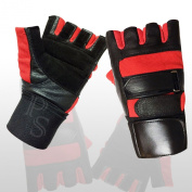 Weight Lifting Gloves Leather Full Padded Prime High Quality Long Wrist Wrap Power Lifting PADDED Palm Exercise Fitness Strengthen Home Gym Black-Red-105