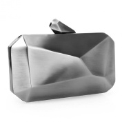 BMC Womens Alloy Metal Abstract Stone Cut Hardcase Fashion Clutch Chain Handbag