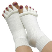 Accmart(TM) 1 Pair (2pcs) Lady Cotton Comfortable Toes Foot Alignment Socks white