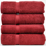 Chakir Turkish Linens Turkish Cotton Luxury Hotel & Spa Bath Towel, Bath Towel - Set of 4, Cranberry