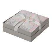 Elegant Baby Fairisle Knit Blanket, Pink/White/Grey