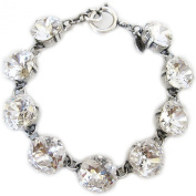 Catherine Popesco Bracelet - Sterling Silver Plated Crystal Round 18cm Bracelet, Clear Crystal 1696