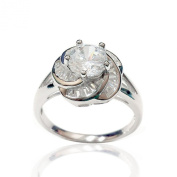 .925 Sterling Silver Jewellery CZ Baguette Swirl Flower Engagement Ring