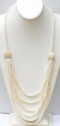 70cm Long 6 Row Necklace with Culture Fresh Water Pearls and Semi-Precious Stone