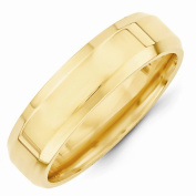 Top 10 Jewellery Gift 14KY 6mm Bevel Edge Comfort Fit Band Size 9