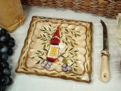 D'Lusso Designs Tuscan Harvest Design Ceramic Cheese Board With Knife