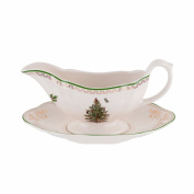 Spode Christmas Tree Sauce Boat and Stand, Gold