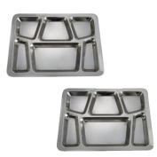 SET OF 2 - 6 Compartment Cafeteria Food Tray, Cafeteria Eating Mess Tray - Stainless Steel