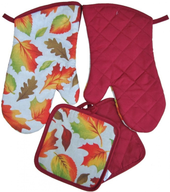 Colourful 4-Piece Home Store Autumn Fall Leaves Kitchen Linens Set * Oven Mitts * Pot Holders