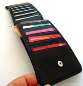 Men Women Money Genuine Leather Wallet Credit Cards 18 17 16 15 Slots Cash Cheque Holder Purse Car Retro . .