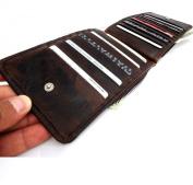 Men Women Money Vintage Genuine Leather Wallet 18 Slots Credit Cards Cash Cheque Holder Purse Car Retro . .
