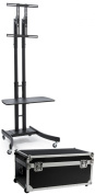 Portable Folding HDTV Stand, Fits 90cm - 170cm , Collapsible with Case, Locking Wheels, Adjustable Height