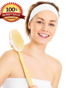 PREMIER BODY BRUSH for Dry Brushing, Shower, Bath, Cellulite, Exfoliating, Massager, Detox, Spa *FREE SHOWER MITT / TRAVEL BAG* Wooden Body Brush with Long Handle, Acne, Back Scrubber, Natural Bristles, Detachable Handle, Dry Skin Brush, Bath Brush lon ..