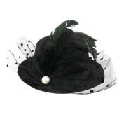 Black Feather Lace Mesh Pearl Hair Clip Mini Top Hat Fancy Dress Party Cosplay