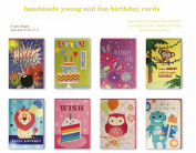 Assorted 8 Pack Handmade Birthday Greeting Cards Boxed Set of 8 Designs for kids Cake Robot Monkey Butterfly Owl