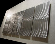 Explosion Silver - 160cm x 60cm Abstract Painting Metal Wall Art by Nider the Internationally Acclaimed Artist of Modern Contemporary Decor Artwork