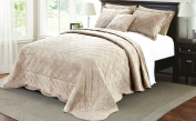 Serenta Super Soft Microplush Quilted 4 Piece Bedspread Set, Queen, Taupe