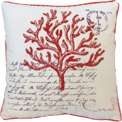 Decorative Printed Coral Floral Throw Pillow COVER 46cm Red