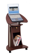 Techni Mobili Deluxe Rolling Laptop Cart with Storage, Chocolate
