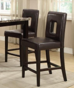 Modern Dark Brown Faux Leather Counter Height Dining Chair Set of 2 by Poundex