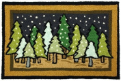 Winter Pine Trees Serenity Jellybean Area Rug