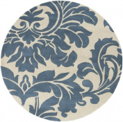 1.2m Falling Leaves Damask Slate Blue and Off-White Round Wool Area Throw Rug