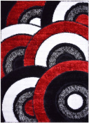 Royal Collection Black Red White Abstract Contemporary Design Shaggy Area Rug (6053)