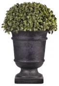 House of Silk Flowers 33cm Artificial Half Ball Topiary in Black Urn