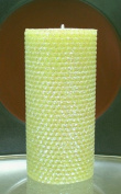 80 Hour-15cm Natural Beeswax Hybrid Pillar Glitter Candle, Lime Colour
