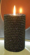 80 Hour-15cm Natural Beeswax Hybrid Pillar Glitter Candle, Black Onyx Colour