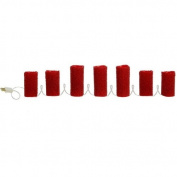 220cm , 7 Candles Lighted Red Beaded Pillar Candle Strand, Christmas or Party Decoration,