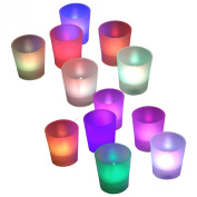 BlueDot Trading ® Flameless Battery Operated LED Votive Candles Candle Tea Lights Light Décor Wedding Centrepiece Romantic Mood Party Event ~ Quantity 12 ~ Multi Colour, Colour Changing
