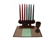 Kwanzaa Gye Nyame Candleholder & Celebration Set (Brown) - Handmade in Ghana