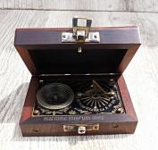 10cm J.Scott Brass Pocket Beatiful Sundial Compass In Fix Wooden Box. C-3178