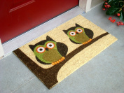 Kempf Vinyl Backed Natural Coco Doormat, Twin, Owl Imprint