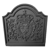 Black Cast Iron Crown Medallion Fireback - 50cm x 50cm