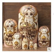 7pcs Wooden Wooden Russian Nesting Doll Toy Russian Doll Wishing Dolls Handmade