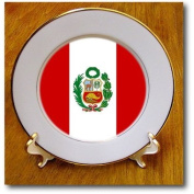 cp_28278_1 Flags - Peru Flag - Plates - 20cm Porcelain Plate
